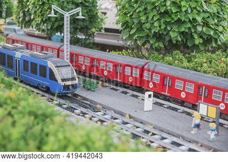 Billund, Denmark, July 2018: Toy Train At The Miniature Railway Station