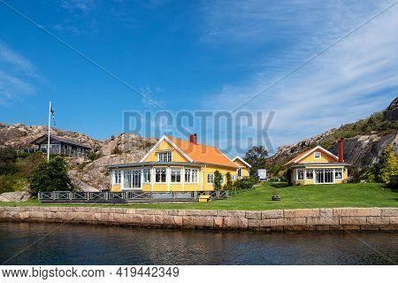 Buildings In The Archipelago Near Fjaellbacka In Sweden.