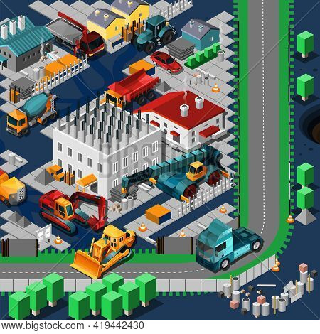 Isometric Construction Machines Concept With Low Poly Tracktors And Bulldozers On The Road Vector Il