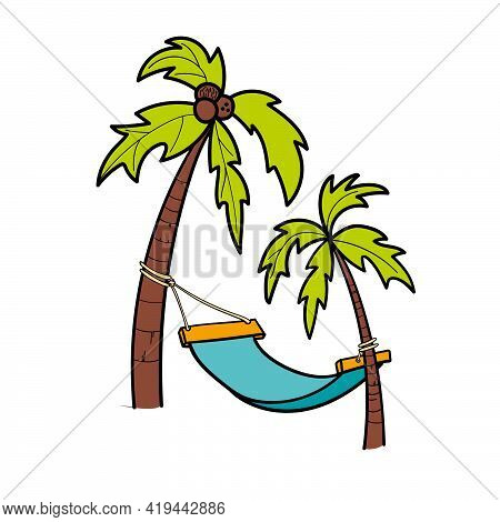 Vector Of The Palm Trees And A Hammock.