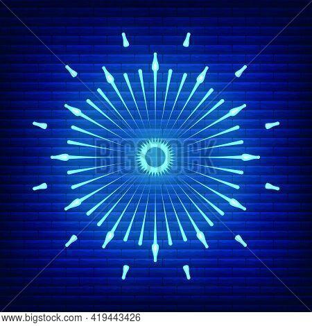 Retro Design Light Sunburst Neon Style Glow Geometric Shape, Vintage Rays Sunlight Explosion Icon Co