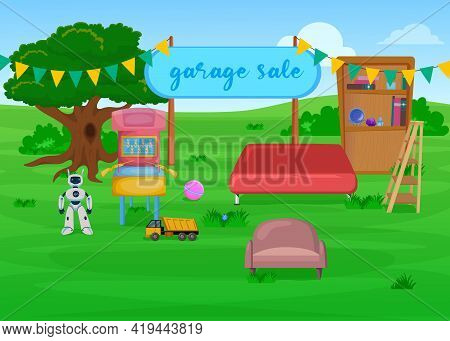 Colorful Open Air Garage Sale Of Furniture. Cartoon Vector Illustration. Wooden Bookcases, Toys, Gam
