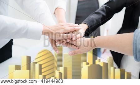 Hand For Work Together Concept, Hand Stack For Business And Service, Volunteer Or Teamwork Togethern