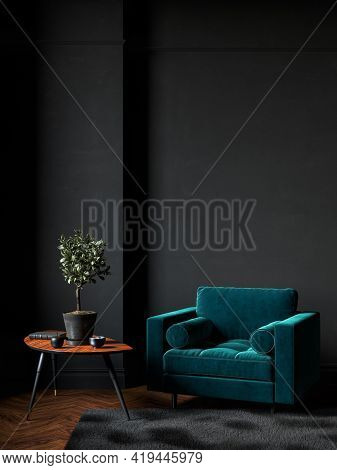 Black Room Interior With Green Velour Armchair, Wood Floor, Carpet And Decor. 3d Render Illustration