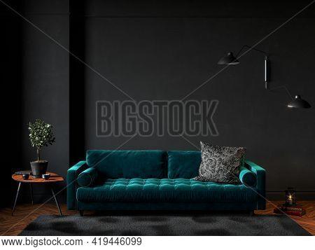 Black Room Interior With Green Velour Sofa, Wood Floor, Carpet And Decor. 3d Render Illustration Moc