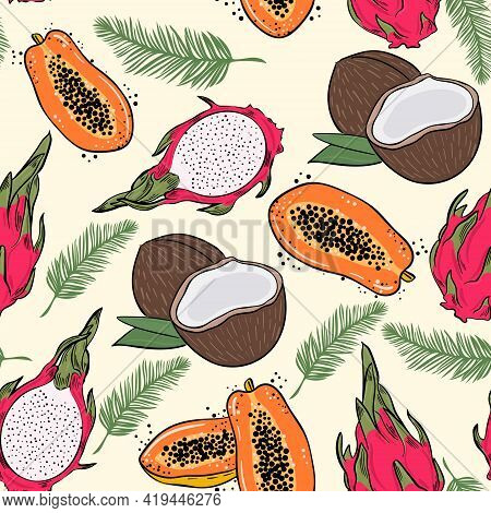 Seamless Pattern With Exotic Fruits. Vector Background With Papaya Pitahaya And Coconuts. Fruits And