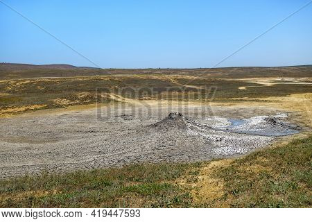 Panorama Of Mud Volcano Of Tishenko In Bulganak Field, Kerch, Crimea. There Are Dried & Cracked Rema