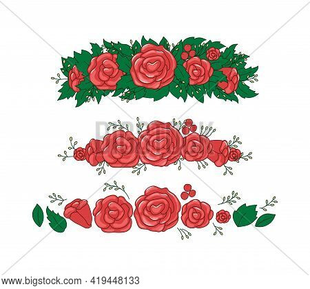 Roses, Leaves Wreath. Beautiful Floral Tiara Elements. Vector Set. Objects Are Isolated