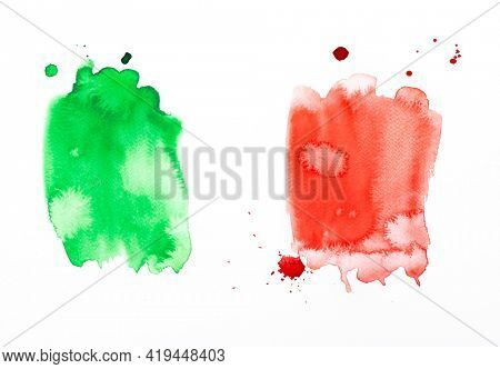 Italian republic day watercolor painting. Hand drawn illustration in colors of Italian national flag, artistic abstract background, beautiful design element
