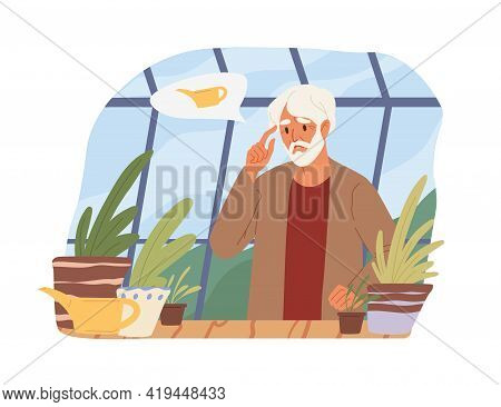 Dementia, Alzheimers Disease And Lost Memory Concept. Senior Man Forgot Watering Plants. Colored Fla
