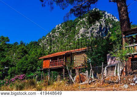 Mountain Village In Turkey On A Sunny Summer Day