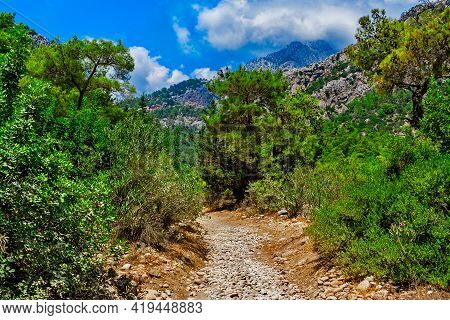 Hiking Trail In The Mountains On A Sunny Summer Day