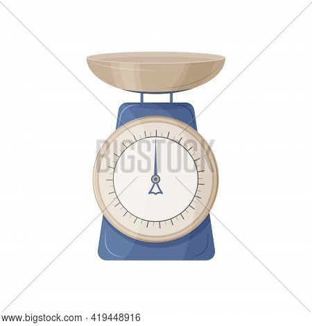 Store-bought Food Scales Are Most Often Used For Weighing Fruits And Other Various Products. Blue An