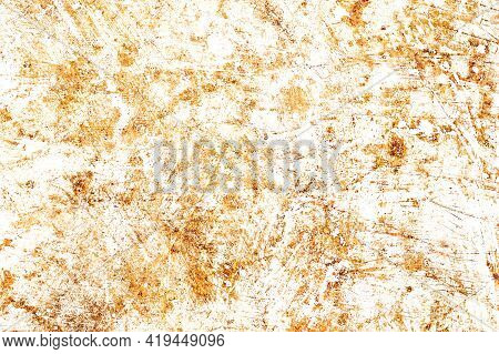 Rusty Metal Texture. Corrosion Background. White Peeling Paint. Grunge Rust On Metal. Cracked Paint
