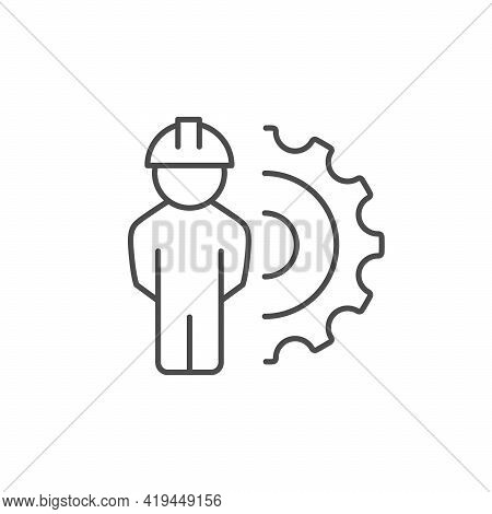 Engineer Line Icon Or Engineering Concept Isolated On White