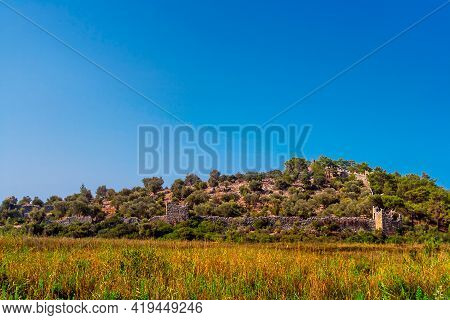 Ruins Of An Old Pydnee Fortress On The Lycian Path In Turkey