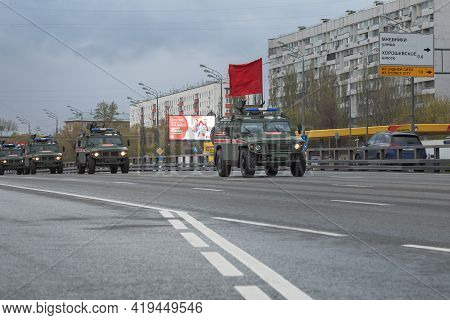 Russia, Moscow, May, May 04. 04.05.2021. Rehearsal Of The Parade. Armored Vehicles Of Military Polic