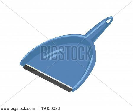 Plastic Scoop For Sweeping. Dustpan Or Shovel With Handle. Dust Pan For Housework. Manual Domestic T