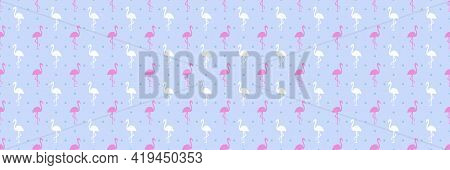 Seamless Dotted Wallpaper With Flamingos. Abstract Dot Texture. Dots Pattern For Design. Colorful Il