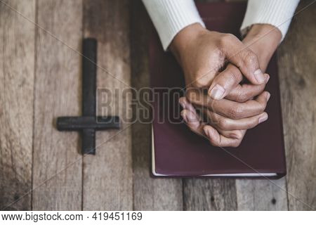 Hands Folded In Prayer Concept For Faith, Religious Young Woman Praying To God In The Morning, Spirt