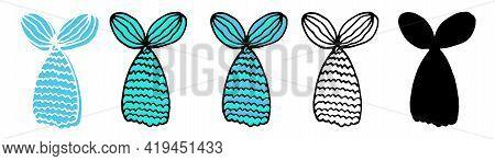 Beautiful Doodle Colorful Set On White Backdrop. Blue Color. Beautiful Doodle Set Mermaid Tail, Grea
