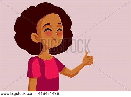 African Teen Girl Holding Thumbs Up Doing Ok Sign