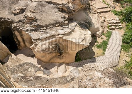 The Remains Of An Oil Press On The Excavations Of The Ancient Maresha City In Beit Guvrin, Near Kiry