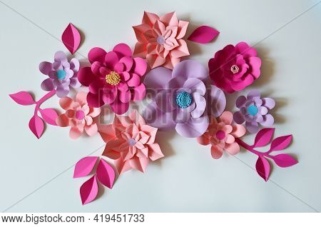 Paper Flowers. Interior Decor. Wall Decoration In The Interior. Paper Decor. Flowers In The Interior