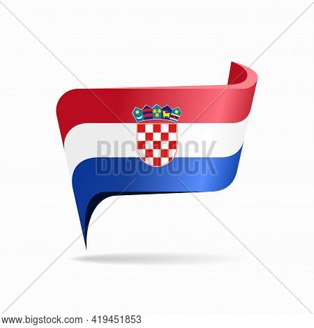 Croatian Flag Map Pointer Layout. Vector Illustration.