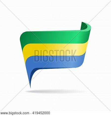 Gabon Flag Map Pointer Layout. Vector Illustration.