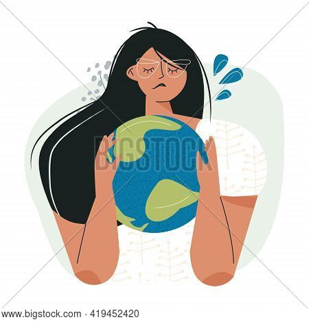 Sad Woman Hugging Earth Planet Globe Ecology Eco Problem Concept. Earth Environment Day, Mother Natu