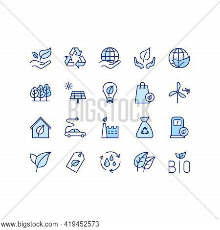 Ecology And Environment Flat Line Icons Set. Environment, Eco, Alternative Power, Recycle, Water Dro