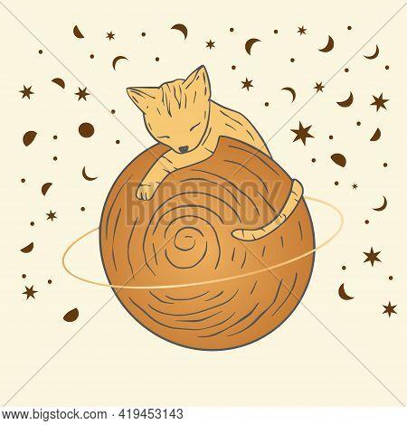 Celestial Cat Sacred Astrology Boho Esoteric Gold Card. Nursery Animal Saturn Planet.