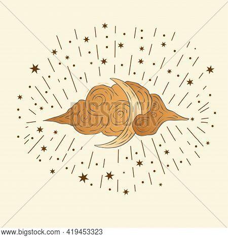 Celestial Moon Sacred Astrology Vector Card. Boho Moonlight Esoteric Nursery Art Star Magic Vector.