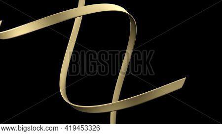 Golden Spiral Ribbons On Dark Background - 3d Rendering Illustration
