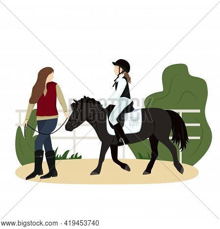 Vector Illustration Of Equestrian Sport In Flat Style. The Girl Is Riding A Pony. Woman Leads The Ho
