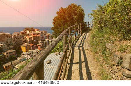 Manarola, Liguria, Italy. June 2020. Panoramic View Of The Seaside Village. The Panoramic Path Runs