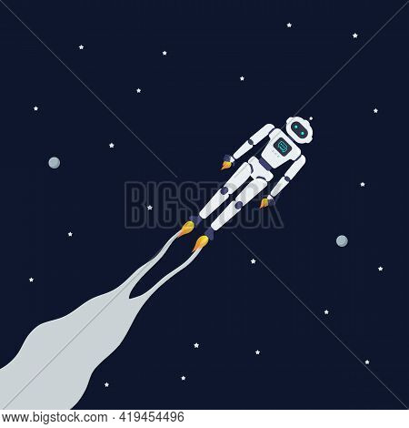 Android Robot Flying On Space Background. Vector Illustration.