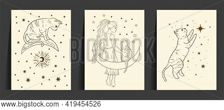 Celestial Woman And Cat Sacred Astrology Boho Line Esoteric Art. Moon And Star Magic Girl Card Set.
