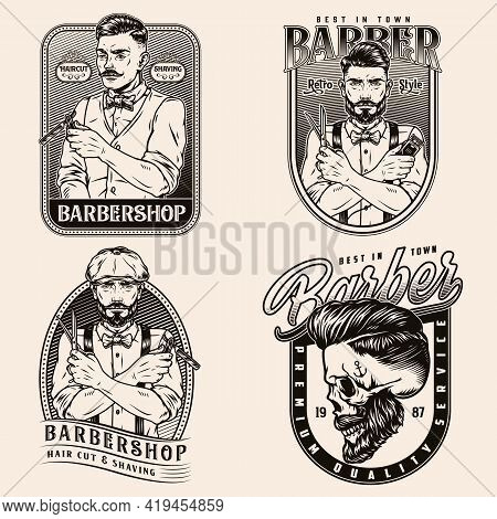 Vintage Monochrome Barbershop Emblems With Stylish Barbers Holding Straight Razor Hair Clipper Sciss