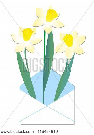 Vector Set Of Yellow Daffodils Isolated On White Background. Early Spring Garden Flowers. Bouquet Of