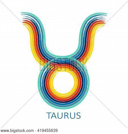 Zodiac Sign Taurus Isolated On White Background. Zodiac Constellation. Design Element For Horoscope