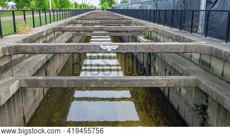 Drainage Canal That Runs Parallel To The Lafitte Greenway In New Orleans, Louisiana, Usa