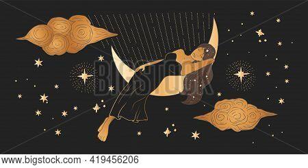 Celestial African American Woman Sacred Astrology Feminine Boho Esoteric Golden And Black Black Art.