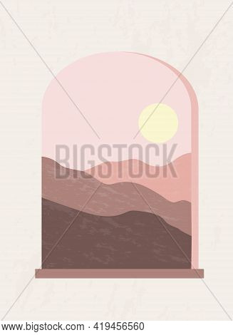 Modern Abstract Monochrome Composition. Minimalist Boho Style Poster. Mystic Arched Window. Mountain