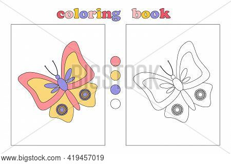 Coloring Book For Kids, Coloring Page With Beautiful Colorful Butterfly. Cartoon Illustrations With