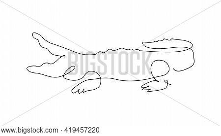 Crocodile One Line. Outline. Continuous Line. Vector Illustration.