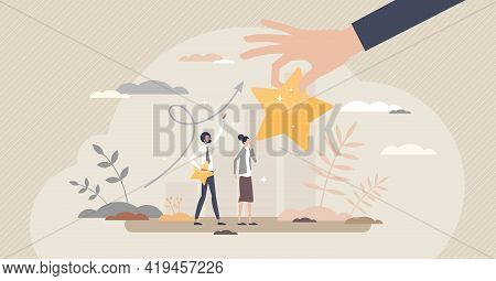 Encouragement With Career Raise And Motivational Reward Tiny Person Concept. Work Development And Bo