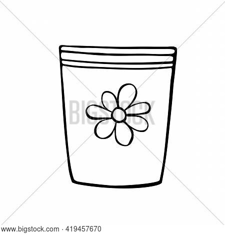 Empty Flower Pot For Indoor Plants And Flowers. Hand Drawn Simple Black Outline Vector Illustration