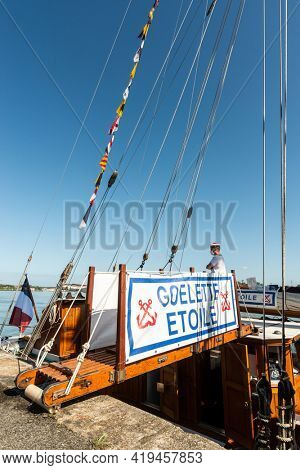 BAYONNE, FRANCE - AUGUST 22, 2020: The schooner Etoile docked at Edmond-Foy quay. It is a training ship for the French navy.